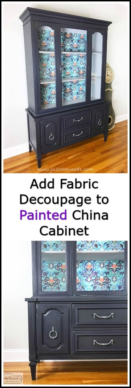 Vintage china cabinet plus fabric decoupage, chalk style paint and purple glaze equals my favorite painted furniture makeover yet!