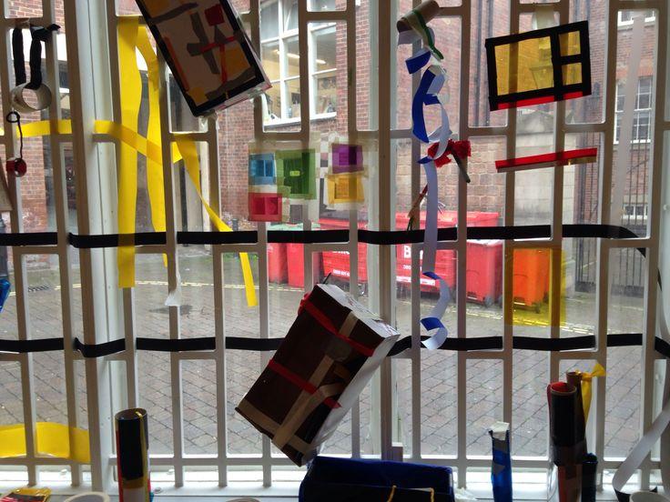 Marlow Moss inspired sculptures on display, Leeds Art Gallery.