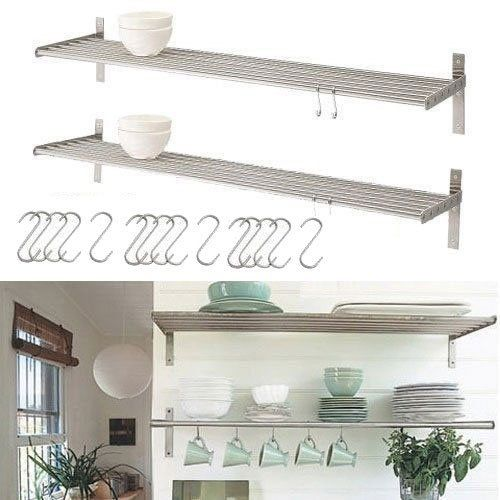 Kitchen Shelf Metal: Set Of 2 Ikea Grundtal Stainless Steel Kitchen Shelves