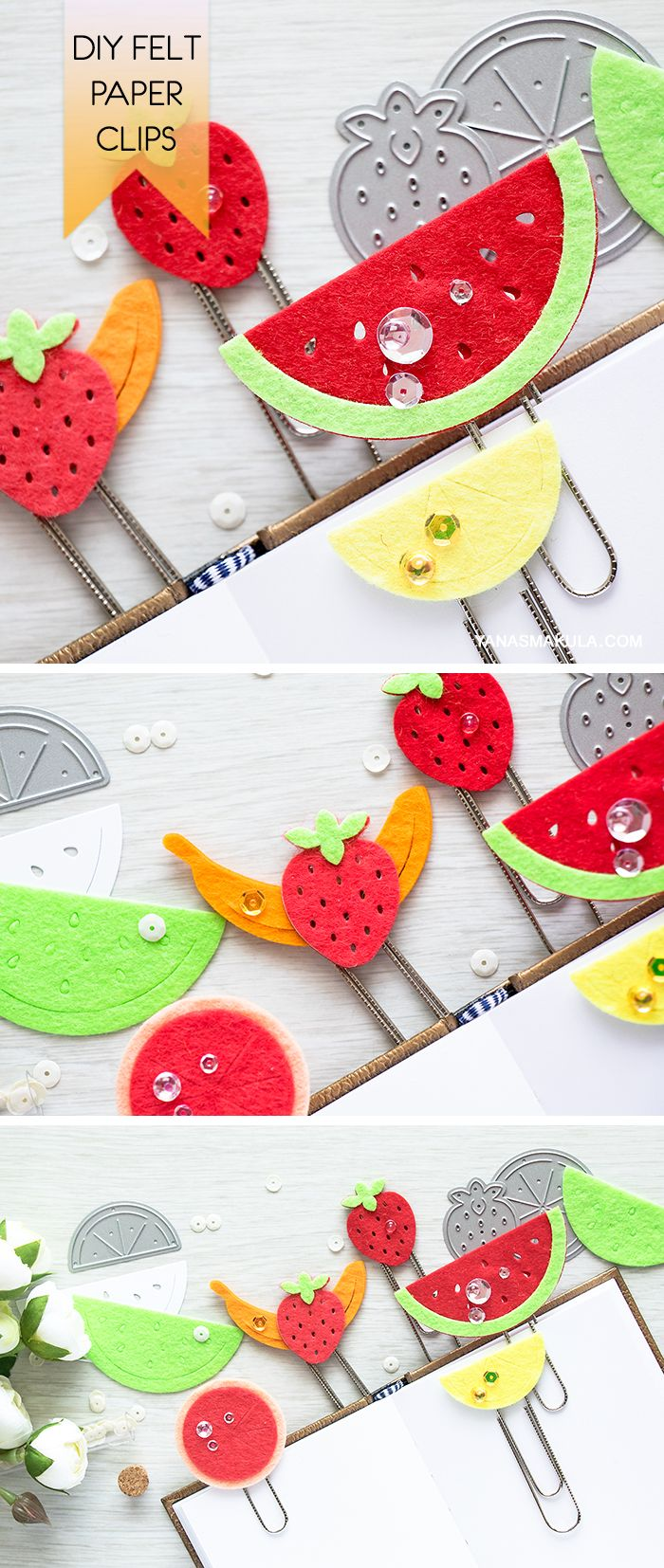 Make these fun DIY Fruity Paper Clips to use are bookmarks or planner dividers using Fruit Salad Dies from Hero Arts.   For more details, please visit https://heroarts.com/?p=67682