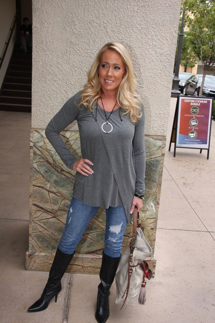 A basic gray tee with added edge! This asymmetrical tee is perfect for adding spice to any outfit.   $50 #ShopALB #ApricotLaneTS