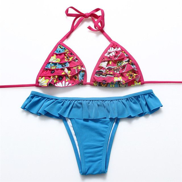 COBUNNY Print Brazilian Bikini Retro Set Floral Halter String Wrapped Swimwear Ruffle Swimsuits Sexy Bathing Suits Biquini