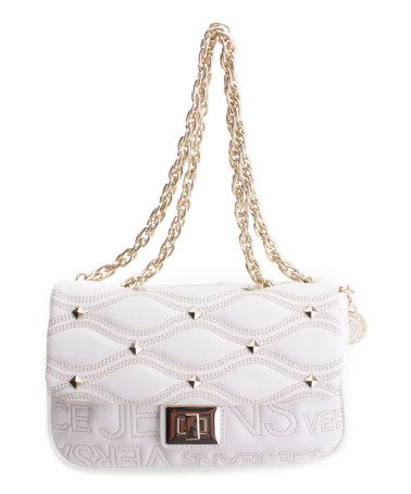 Look what I found on #zulily! White & Goldtone-Accent Quilted Shoulder Bag #zulilyfinds