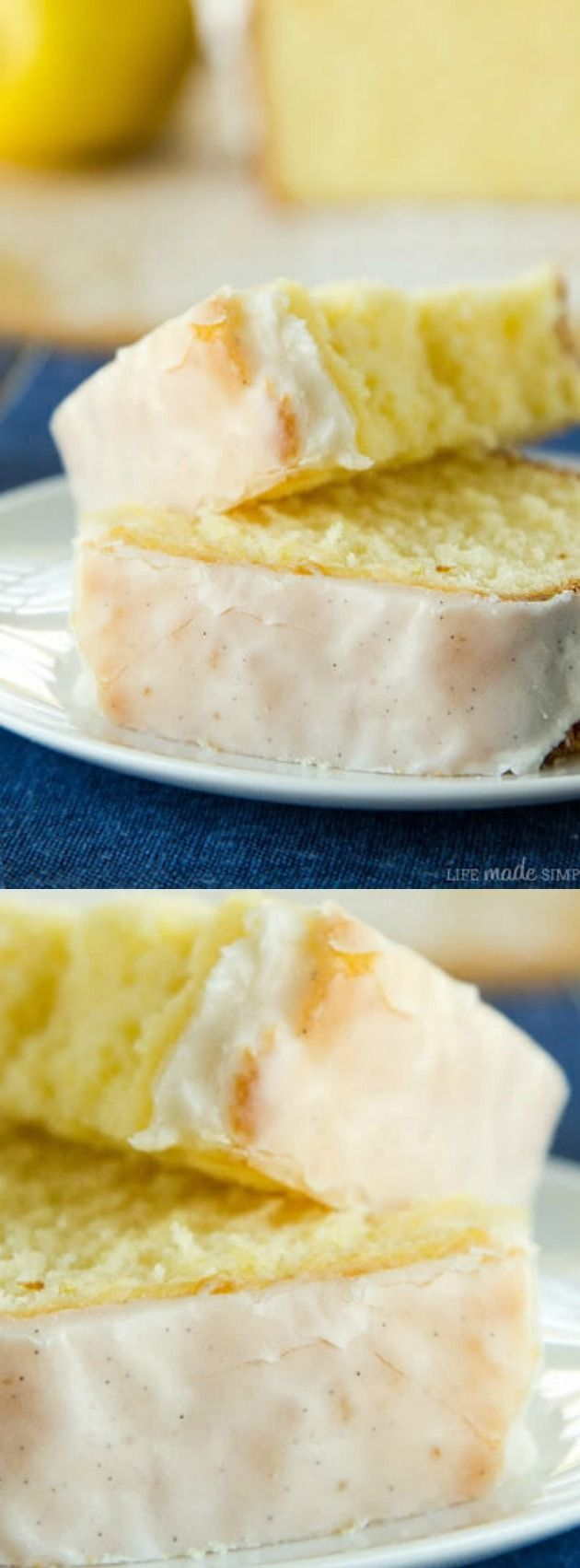 "This Lemon Pound Cake with Vanilla Bean Glaze from Life Made Simple is moist, fluffy, and totally delicious! The lemon flavor really pops and ""makes the cake""! This recipe would be perfect for Easter, Mother's Day, or even at Sunday brunch!"