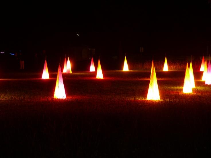illuminated cones at the light festival in Bad Woerishofen, Germany