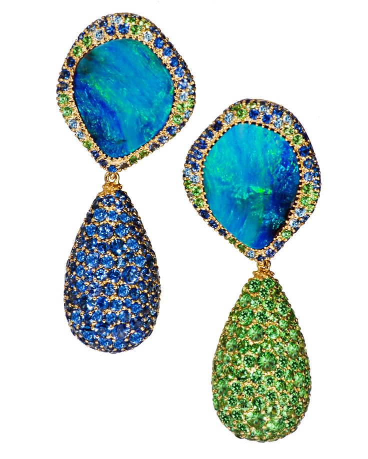 Margot McKinney Jewelry Carnivale Denim Blue Topaz Earrings with Diamonds 9Q1ky7