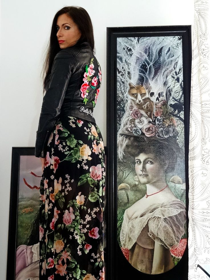 Marta Julia Piórko, atelier, painting, dark floral, outfit