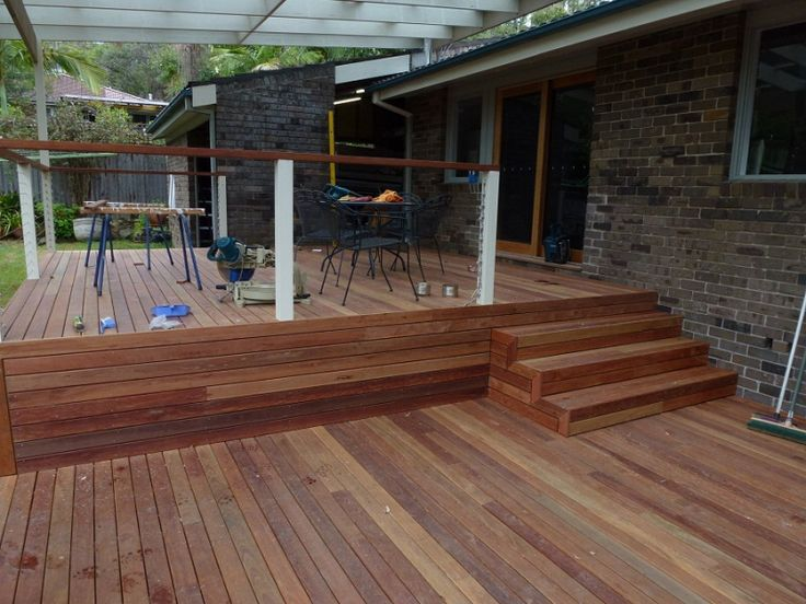 73 best bbq area ideas images on pinterest for Split level garden decking