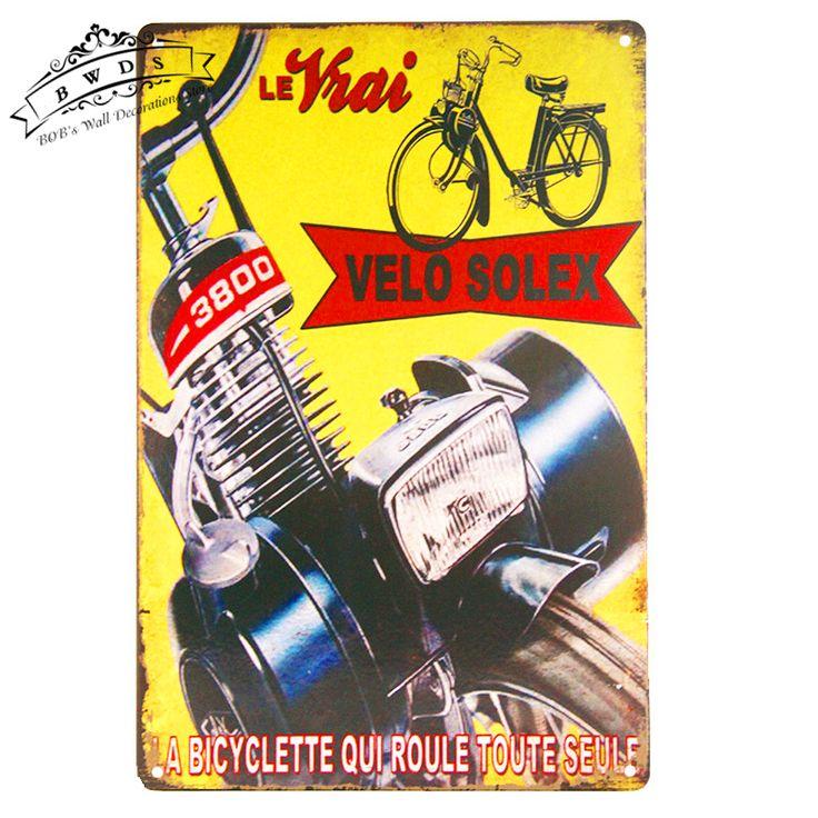 Вело Solex Металлическое Олово Признаки Ретро Номерного Знака Украшения Стены для Гаража Паб Бар Главная Декор Стены