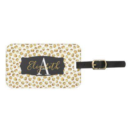 Chic Faux Gold Flower Petals Monogrammed Luggage Tag - chic design idea diy elegant beautiful stylish modern exclusive trendy