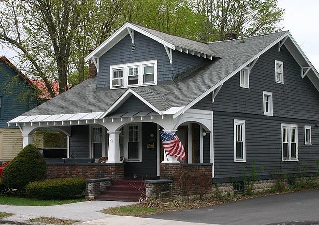 Nice Bungalow Saratoga Springs NY Grey Brick Bluish Gray And