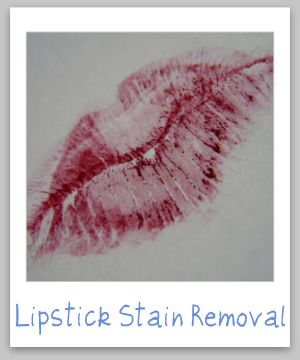 Lipstick stain removal guide for clothing, upholstery and carpet {on Stain Removal 101}
