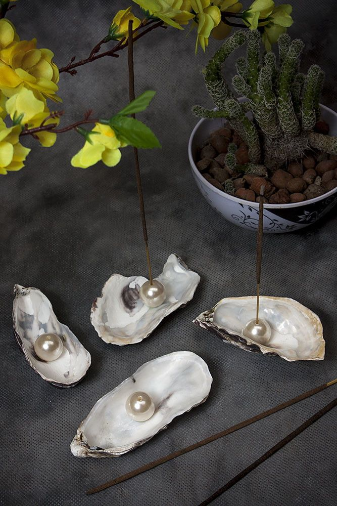 Porta incenso de concha com pérola