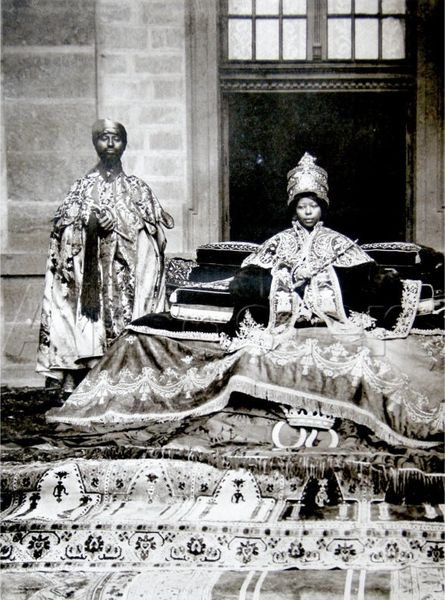 """Queen of Kings"": Empress Zewditu I and with one of her most favored priests, between 1916 and 1930"