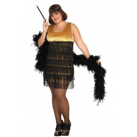 Compra online tu disfraz de charleston en talla grande para mujer y destaca en tu fiesta de disfraces con este vestido especial para mujeres con curvas.