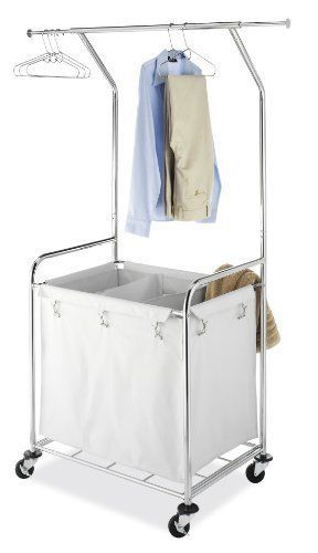 Commercial Laundry center Cart Clothes Basket Storage Rack Hamper Hanging Bar US #KandN
