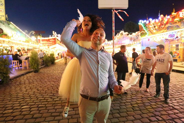 Wedding party in a fun fair in Dusseldorf
