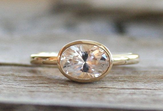 Oval White Sapphire Bezel Ring in 14K Yellow Gold