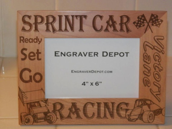 Sprint Car RacingEngraved  Picture Frame by CmpMotorsports on Etsy, $29.99