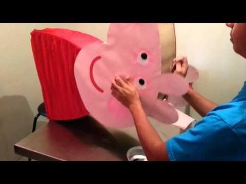 How to make a Peppa Pig pinata / piñata - YouTube