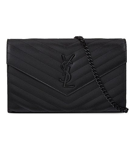 Saint Laurent Monogram Quilted Leather Envelope Clutch