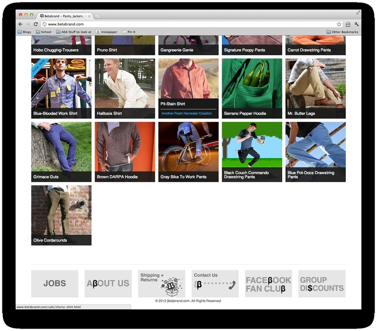 www.betabrand.com Site Footer