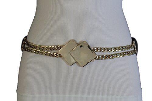 724b3586ecc79 Trendy Fashion Jewelry Women Fashion Gold Metal Chain Belt Hip Waist Black  Stretch Square Buckle S M