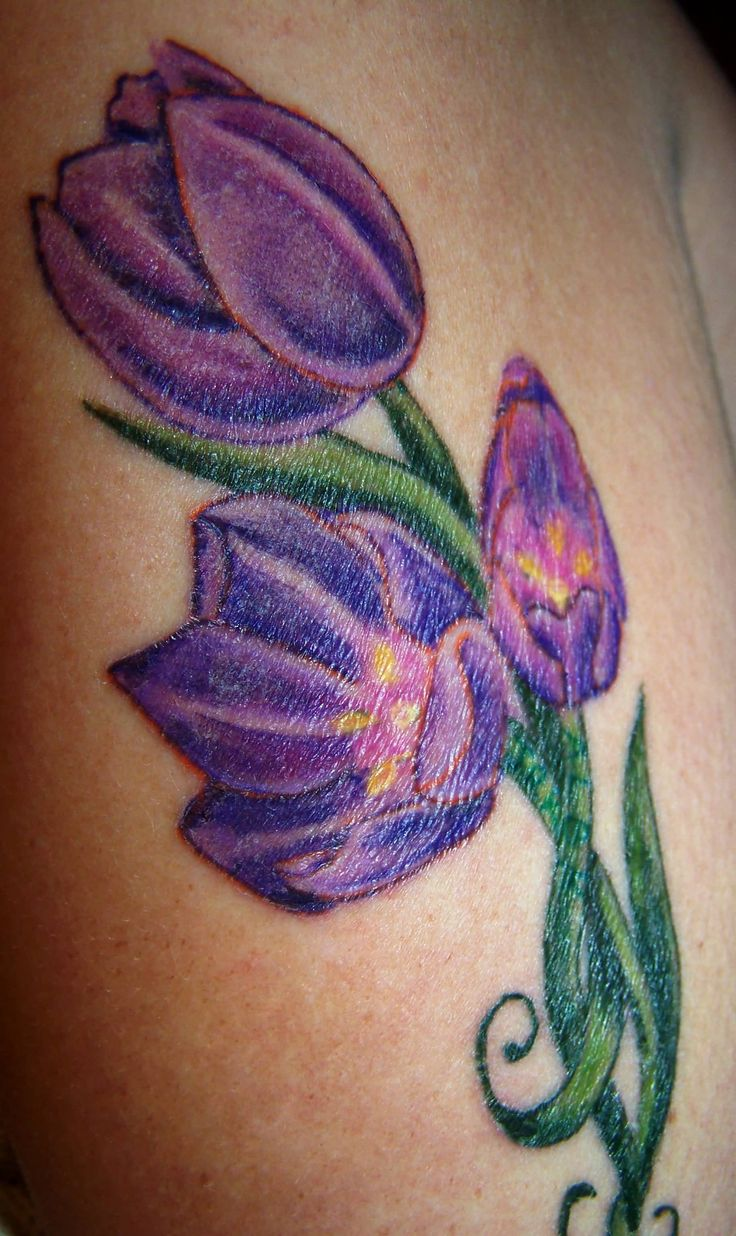 Purple Ink Tulip Tattoo On Bicep