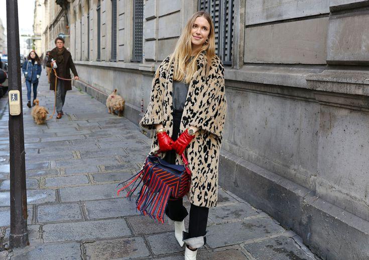 Pernille Teisbaek in a Balenciaga coat with a Loewe bag
