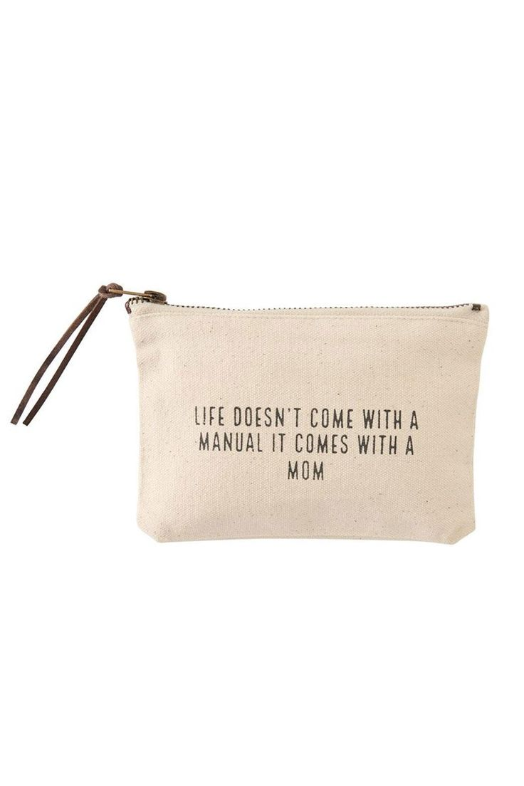 """Heavy canvas multi-use pouches feature leather zipper pulls and black loving sentiments.  Size: 4"""" x 7""""  Life Pouch by Mud Pie. Bags - Cosmetic Pouches New Jersey"""