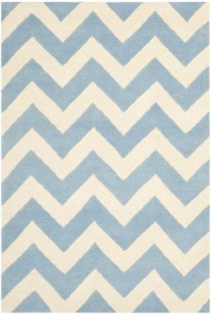 Amazon.com: Safavieh CHT715B Chatham Collection Wool Area Rug, 5-Feet by 8-Feet, Blue/Ivory: Furniture & Decor