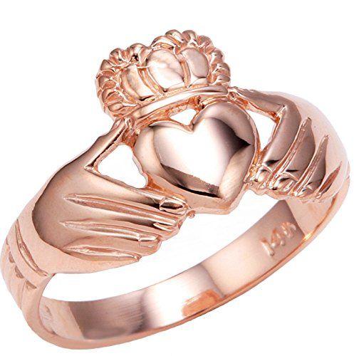 cool High Polish 10k Rose Gold Claddagh Ring