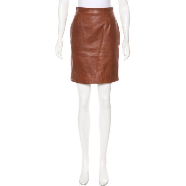 Pre-owned MaxMara Leather Mini Skirt ($125) ❤ liked on Polyvore featuring skirts, mini skirts, brown, short skirt, short white skirt, leather mini skirts, brown leather skirt and real leather mini skirt