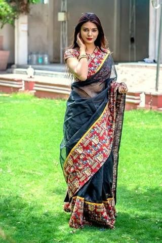Beauteous kota cotton saree with ‎big kalamkari‬ printed border - new