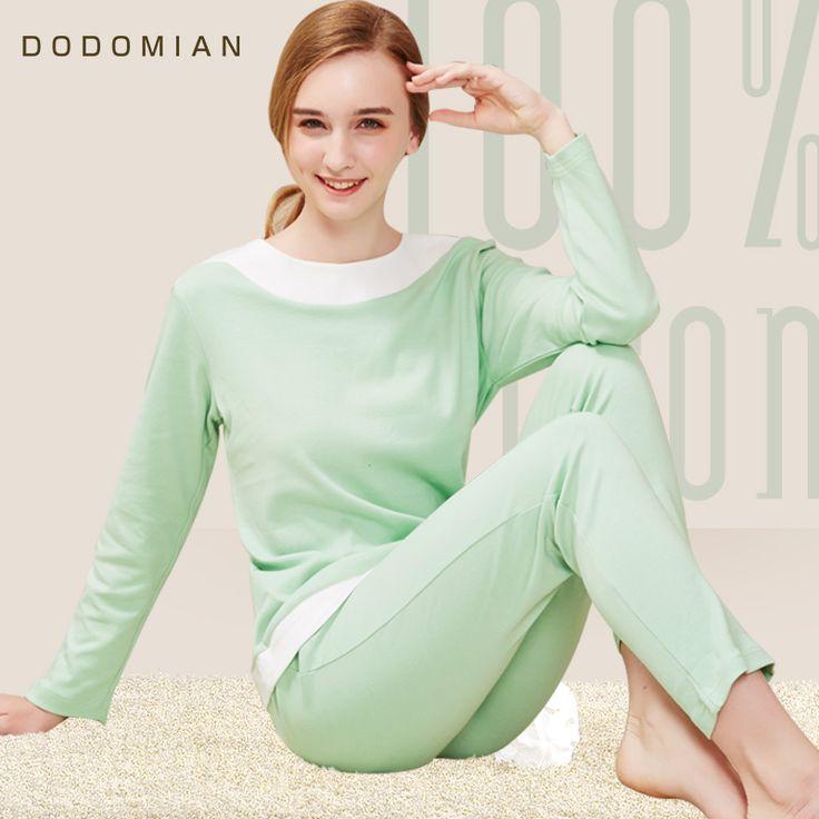 DO DO MIAN Femal Pajama Sets Light Green Cotton Nightwear Patchwork Loose Housing Clothing Suit T shirt+Pants plus size M-XL #Affiliate