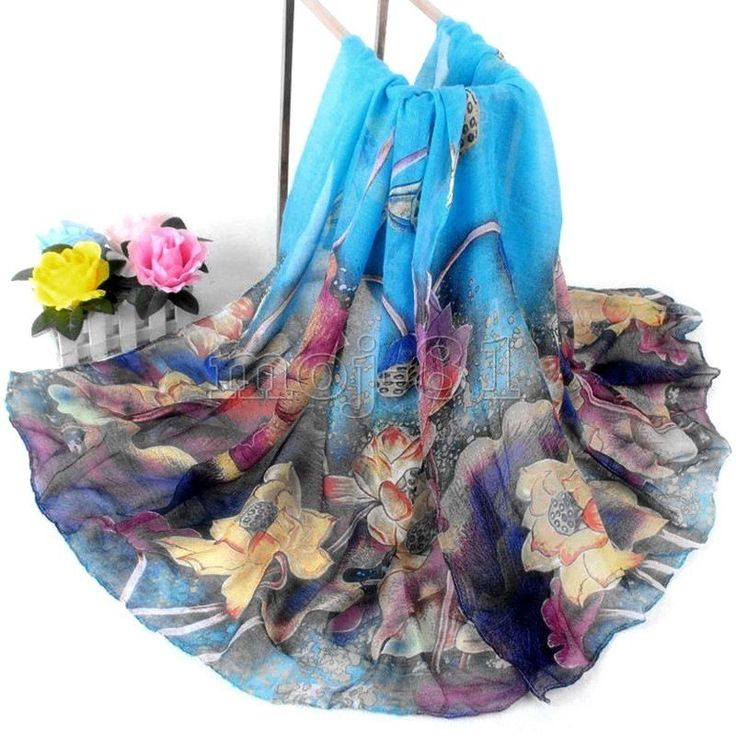 Women's Fashion Blue Cotton Long Wrap Shawl Beach Scarf Lotus Flowers