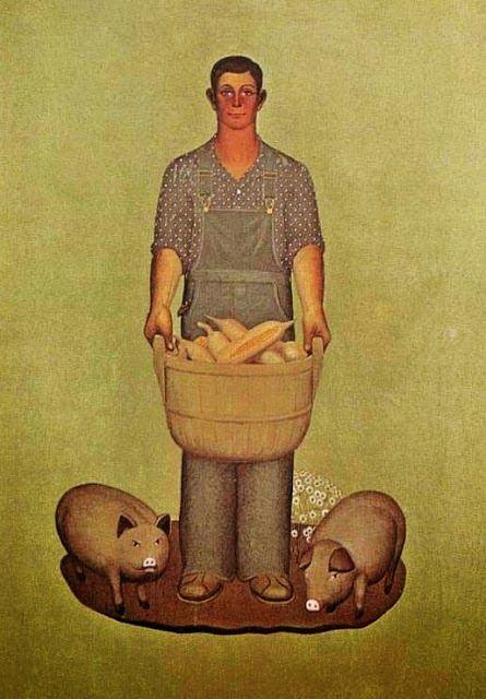 Grant Wood – 1932 Farmer with Pigs oil on canvas Coe College, Cedar Rapids, Iowa