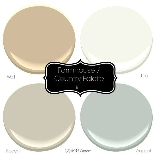 Farmhouse or country style paint palette ideas with Sherwin williams colours