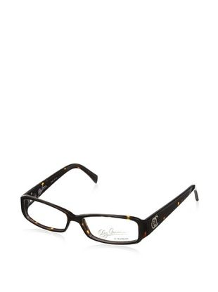 Oleg Cassini Women's Interlocking Stone OC Eyeglasses, Dark Tortoise