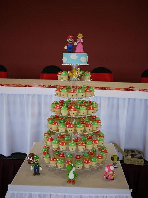 Super Mario Bros & 1UP Mushrrom Wedding Cupcake Tower by Cupcake Central (Sheryl), via Flickr | Nintendo NES Video Game Groom