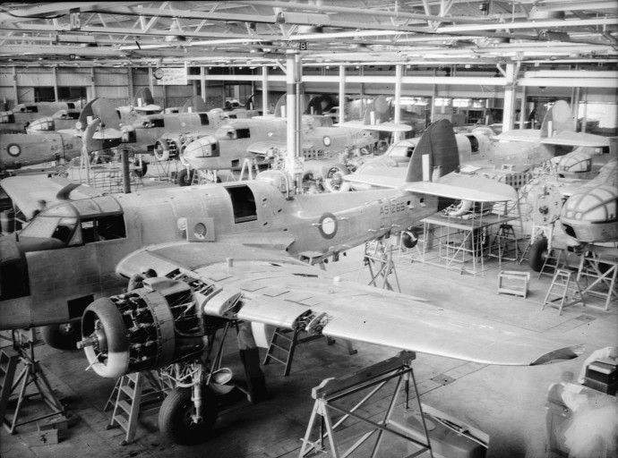 RAAF Bristol Beaufort Mk.VIII torpedo bombers under production at Department of Aircraft Production (DAP) plant in Fisherman's Bend, Melbourne circa 1943.Department of Aircraft Production (DAP) was formed on July 1st, 1939 (later to be renamed the Government Aircraft Factory or GAF after the war) and during World War Two primarily produced licence-built DAP (Bristol) Beaufort torpedo/reconnaissance bombers. 700 Beauforts were produced by DAP from 1941 to 1944.