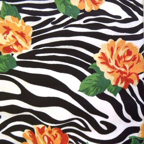 Yellow Zebra Rose Cotton Fabric