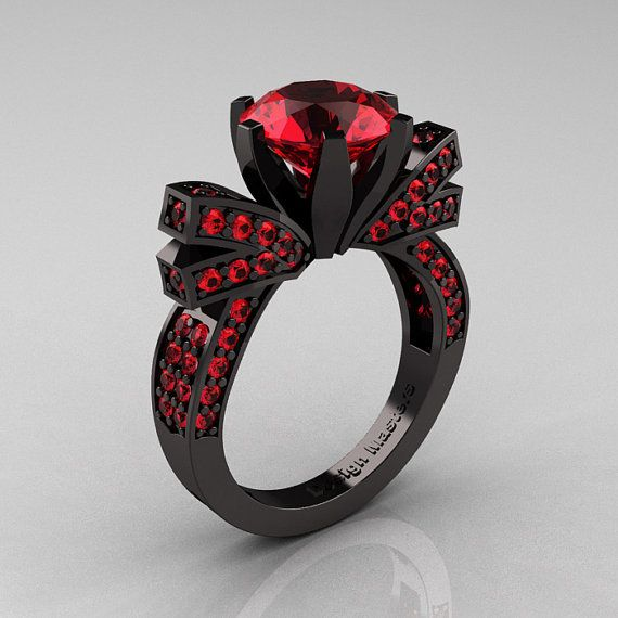 French 14K Black Gold 3.0 CT Rubies Engagement Ring, Wedding Ring R382-14KBGRR I want.