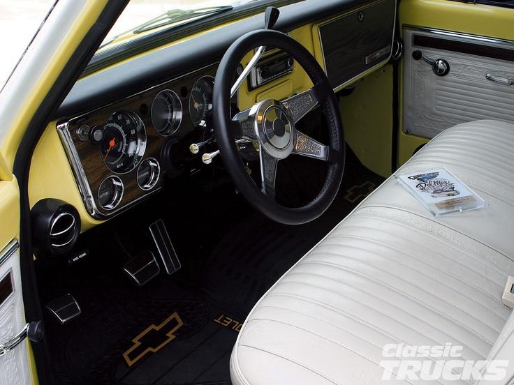 New Smyrna Chevy >> 1971 Chevy Pickup Truck Custom Leather Interior | Chevy c10 interior | Pinterest | Chevy pickup ...