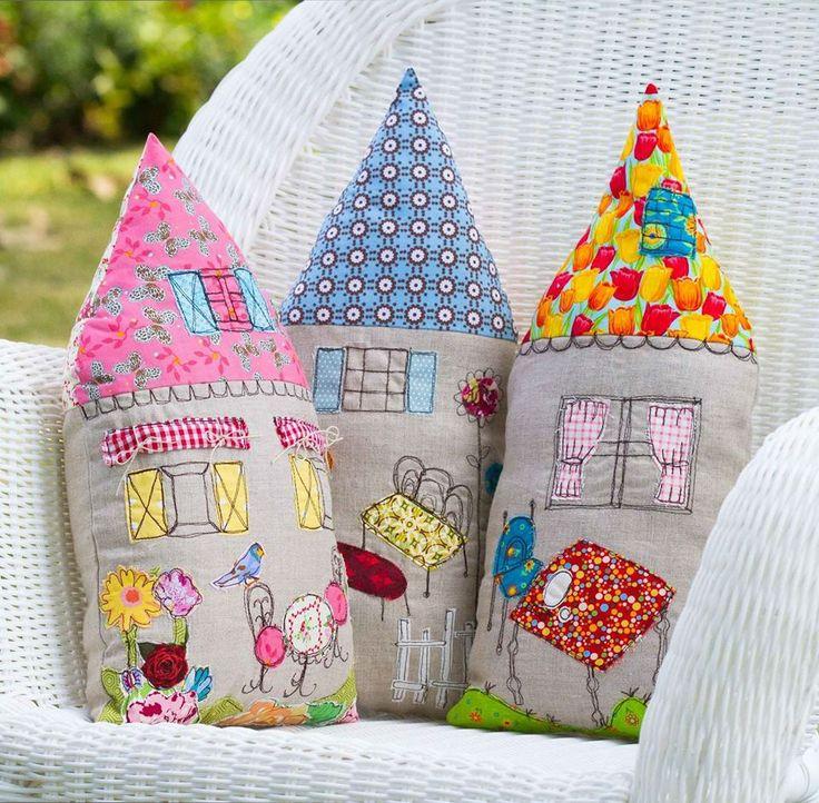 Inspiração para criar almofadas de casinha! #decoração #artesanato