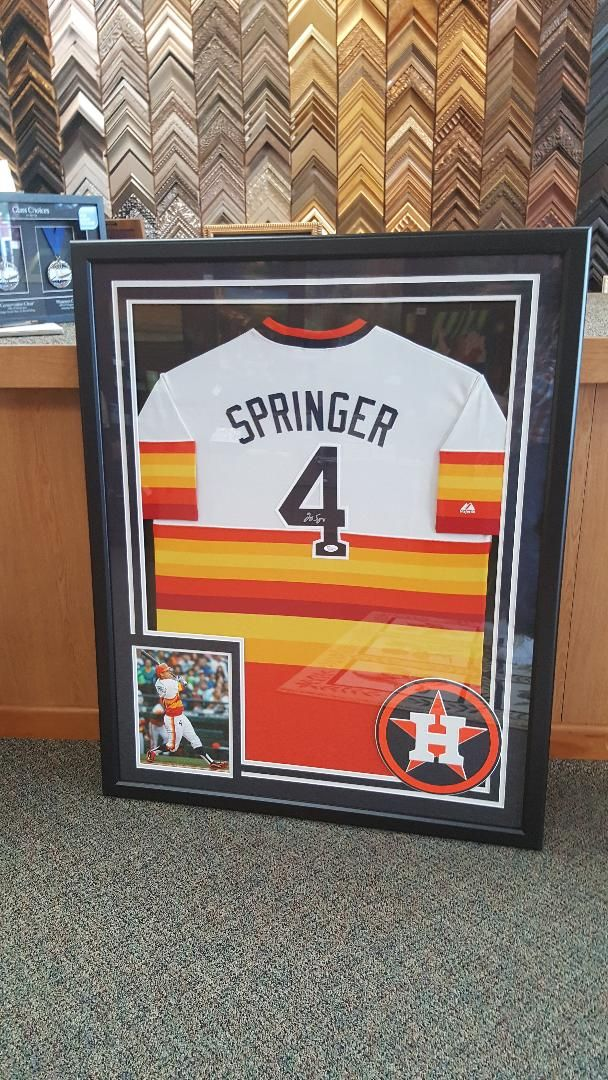 13a50968e George Springer jersey with photo and Astros logo. Framed at The Great  Frame Up