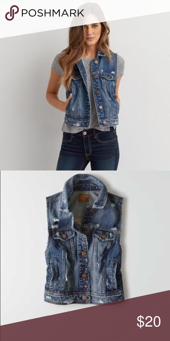 AEO Denim Vest 100% cotton soft denim. Button front. Straight point collar classic seam detail. Buttoned chest patch pockets. Vertical hip pocket. Distressed denim in a medium wash. Perfect for tops or dresses. Excellent used condition (distressing is intentional) only worn a few times. More photos coming tonight. American Eagle Outfitters Jackets & Coats Vests
