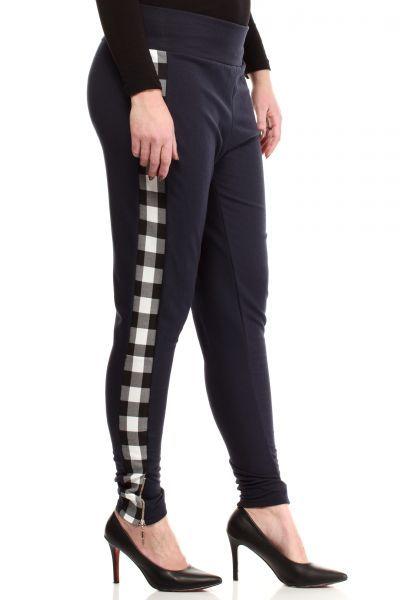 Granatowa spodnie z czarno biała kratą