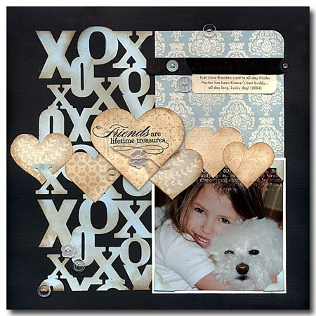 Friends are Lifetime Treasures-Silhouette shapes scrapbook*page*layout