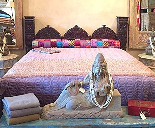 Buy Worldcraft Industries Carved Triple Arch Jhula Pillar Bed